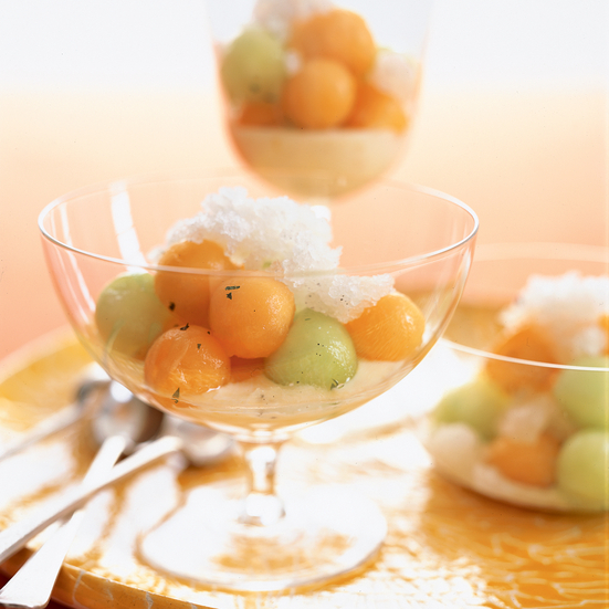 Minted Melon with Vanilla Granita and Citrus Yogurt