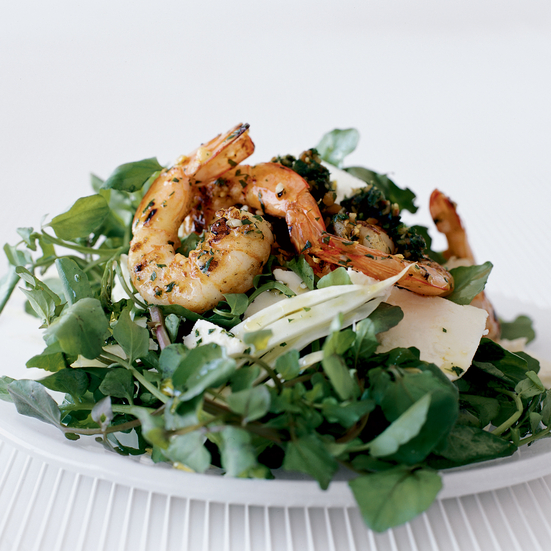 Shrimp and Feta Salad with Minty Almond Pesto