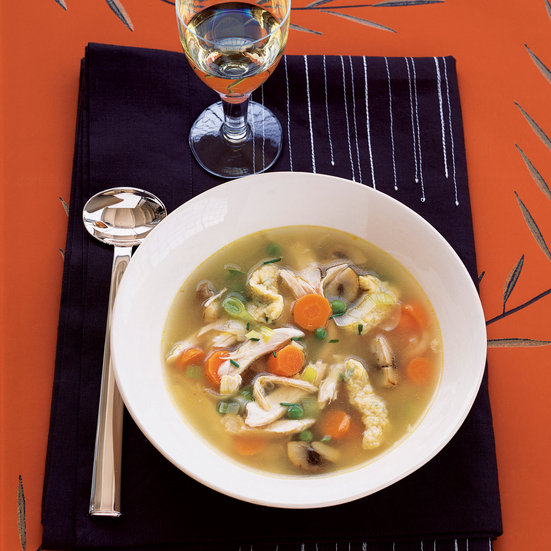 Vegetable Turkey Soup with Cornmeal Noodles