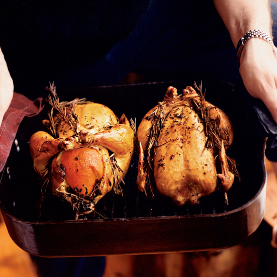 Roasted Chickens with Lemon and Orange
