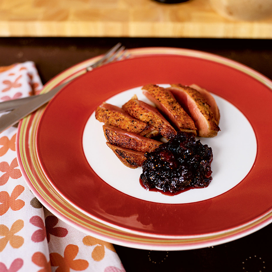 Seared Duck Breasts with Port-Fruit Chutney