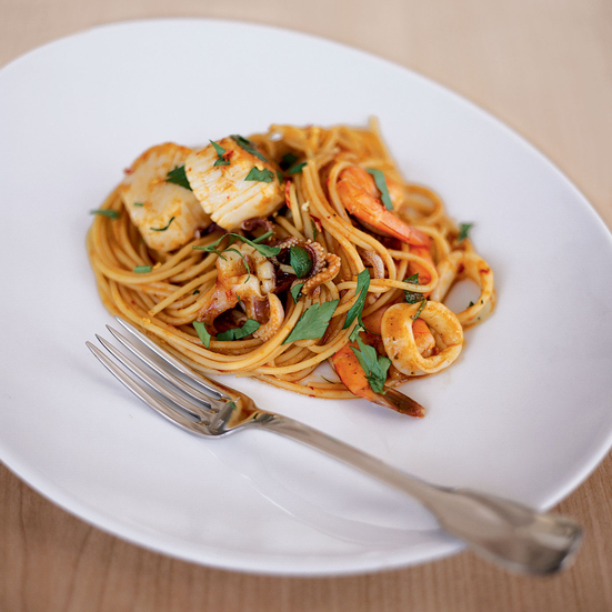 Spaghetti with Curried Seafood Marinara