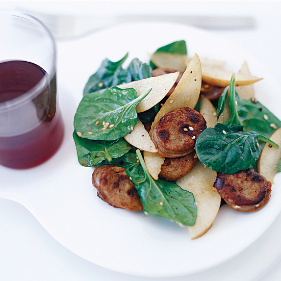 Asian Spinach Salad with Sausage and Pears