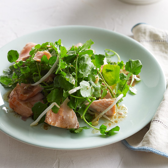 Asian Watercress Salad with Salmon