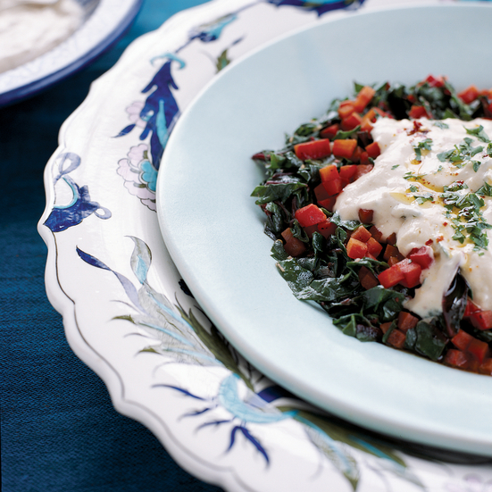 Swiss Chard Salad with Garlicky Yogurt