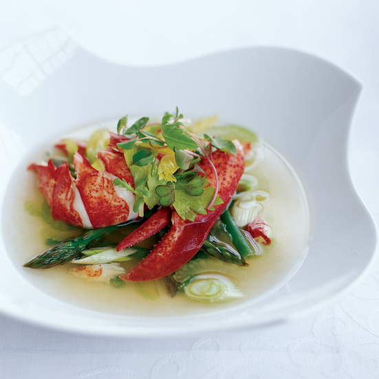 Warm Lobster Salad with Gazpacho Consommé
