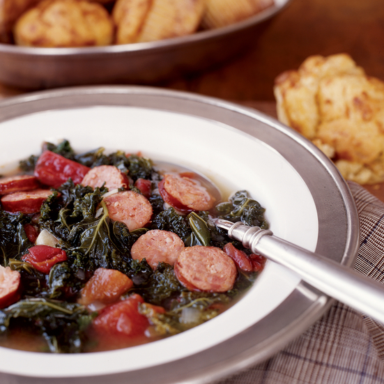 Spicy Kale Chowder with Andouille Sausage