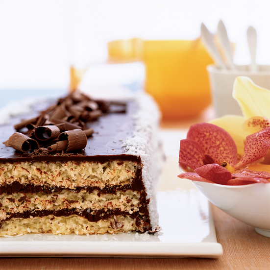 Triple-Layer Chocolate Macaroon Cake