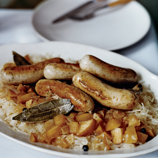 Saut ed german sausages with bacon and apple sauerkraut recipe stanley lobel food wine - Appel krat ...