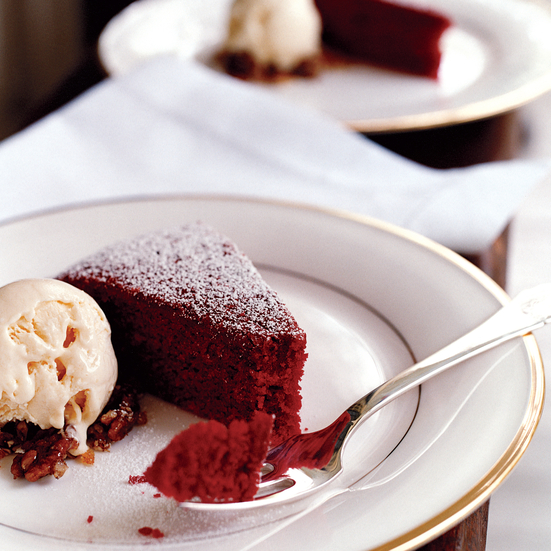 Red Velvet Cake with Cream Cheese Ice Cream