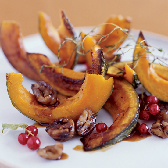 Roasted Squash with Chestnuts and Pomegranates