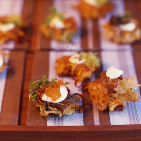 Potato Latkes with Gravlax, Creme Fraiche and Caviar