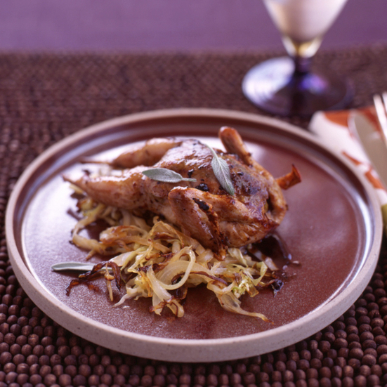 Roasted Quail with Cabbage and Raisins