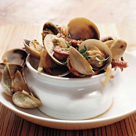 Manila Clams with Hot Soppressata and Sweet Vermouth