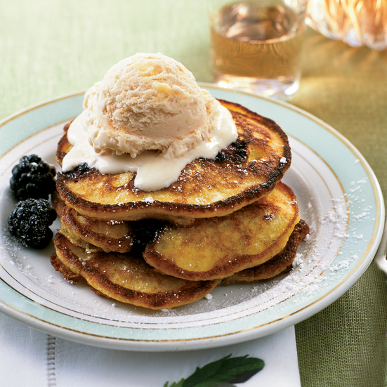 Blackberry Corn Cakes with Peach-Maple Ice Cream