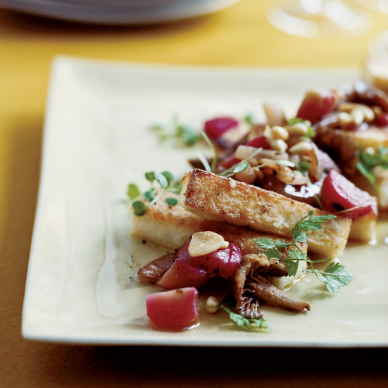 Crispy Grits with Sweet-and-Sour Beets and Mushrooms