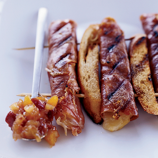 Grilled Prosciutto and Fontina Rolls with Mostarda