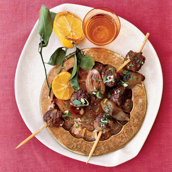 Ground Lamb and Shallot Kebabs with Pomegranate Molasses