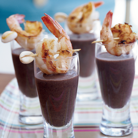 Sherried Black Bean Soup Topped with Grilled Shrimp