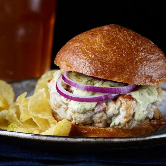 Smoky Tuna and Bacon Burgers with Lemongrass Aioli