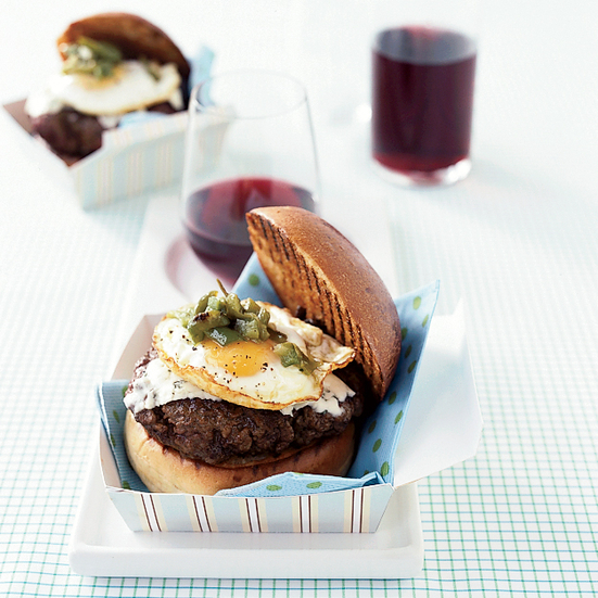 Green-Chile Burgers with Fried Eggs