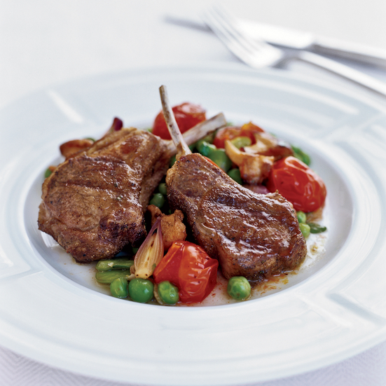Grilled Spiced Lamb Chops with Vegetable Ragout