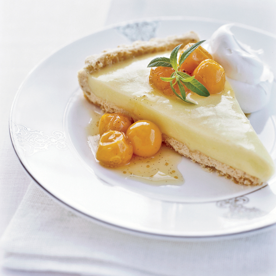 Lemon Verbena Tart with Cape Gooseberry Compote