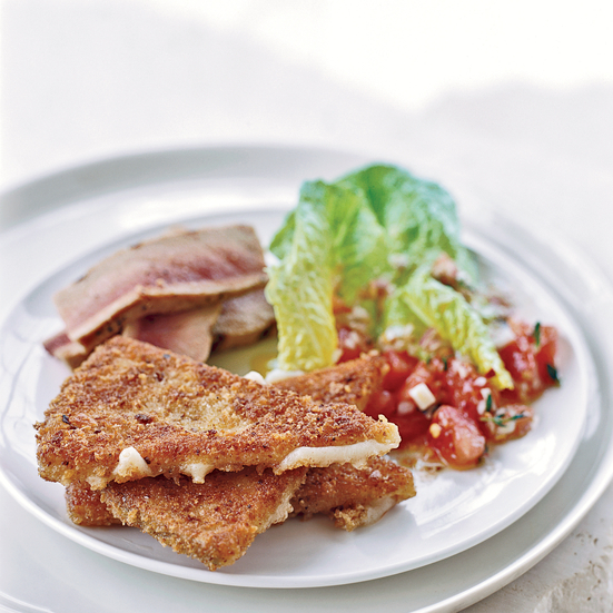 Grilled Tuna with Fried Manchego