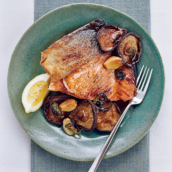 Salmon with Roasted Shiitakes