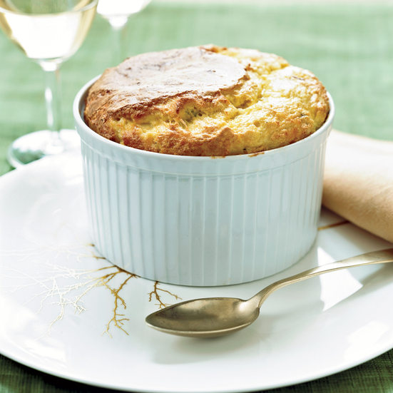 Fresh Corn Soufflé with Bacon and Comté