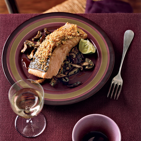 Gingery Panko-Crusted Salmon with Asian Vegetables