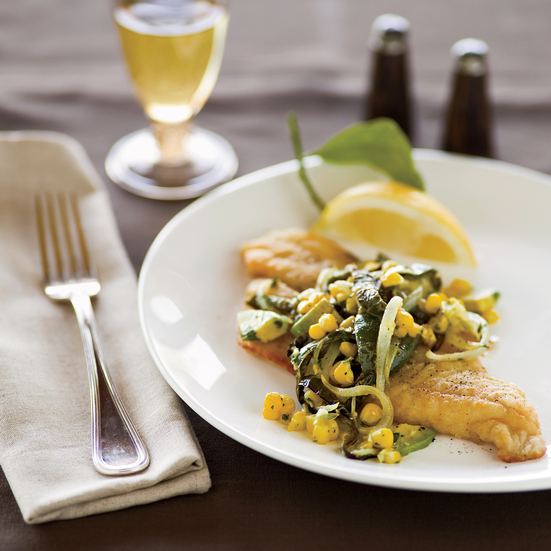 Pan-Fried Flounder with Poblano-Corn Relish