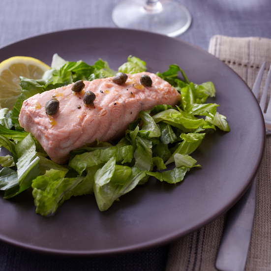 Poached Salmon with Caper-Butter Sauce