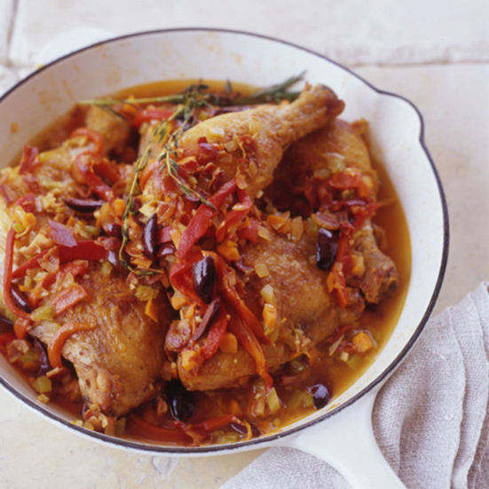 Braised Chicken with Peppers Recipe - Andrew Carmellini | Food & Wine