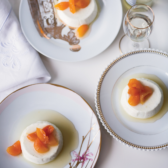 Greek Yogurt Panna Cotta with Honey-Glazed Apricots