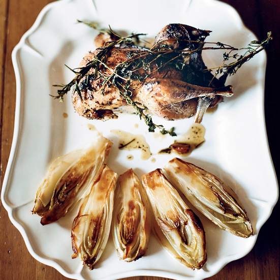 Herb-Roasted Pheasants with Endives and Horseradish Puree