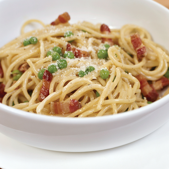 Spaghetti Carbonara with Green Peas Recipe - Elia Aboumrad, Sam Talbot ...