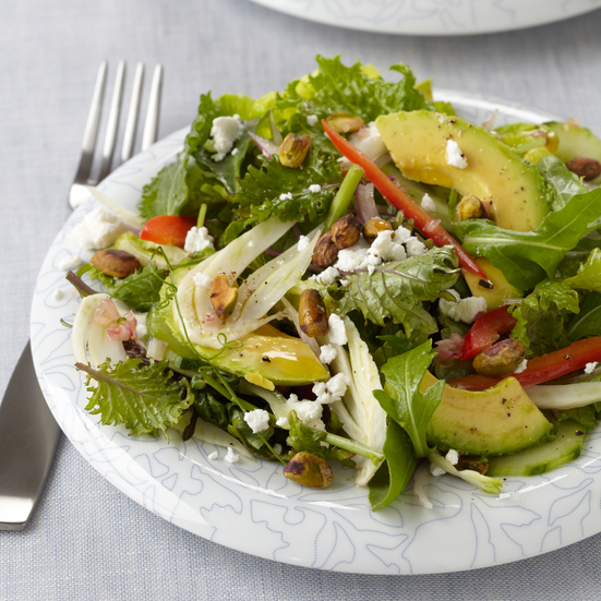 Green Salad with Goat Cheese and Pistachios