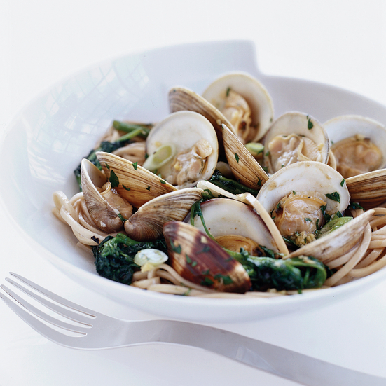Sizzled Clams with Udon Noodles and Watercress