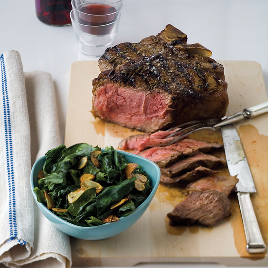 T-Bone Fiorentina with Sauteed Spinach