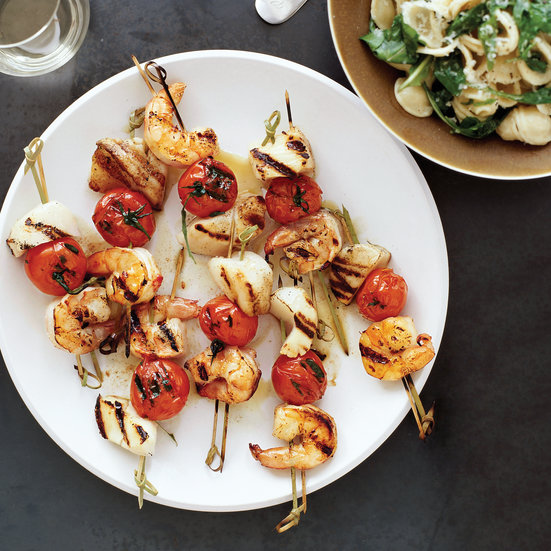 Grilled Seafood Kebabs and Orecchiette with Arugula