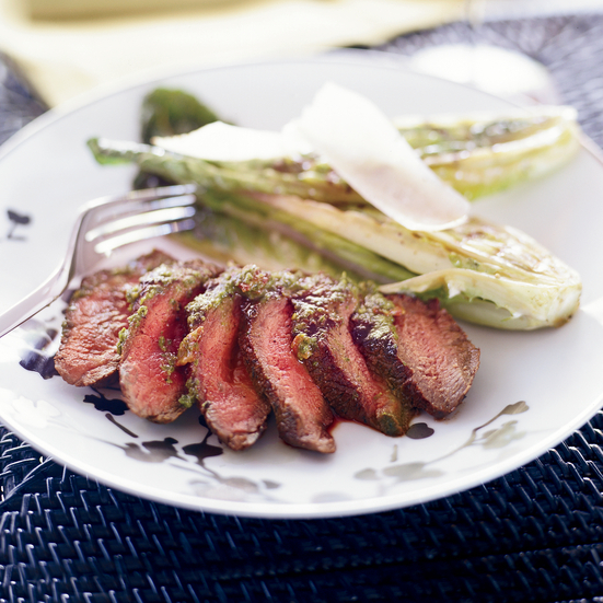 Grilled Hanger Steak with Bacon Chimichurri