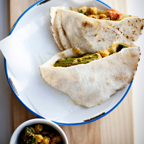 Curried Vegetable Roti