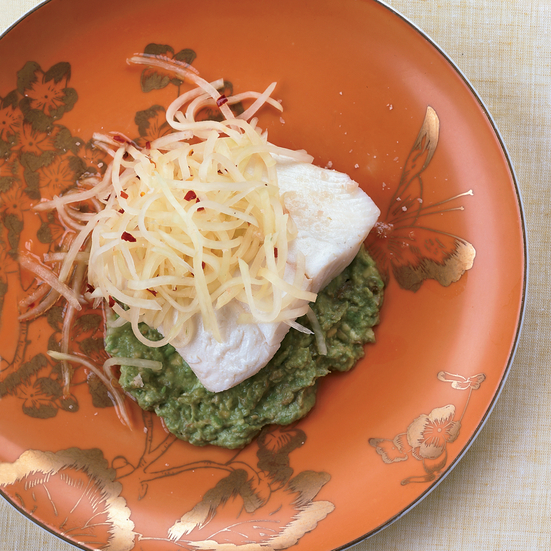 Halibut with Avocado Mash and Green Papaya Slaw