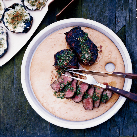 Smoky Strip Steaks with Chimichurri Sauce