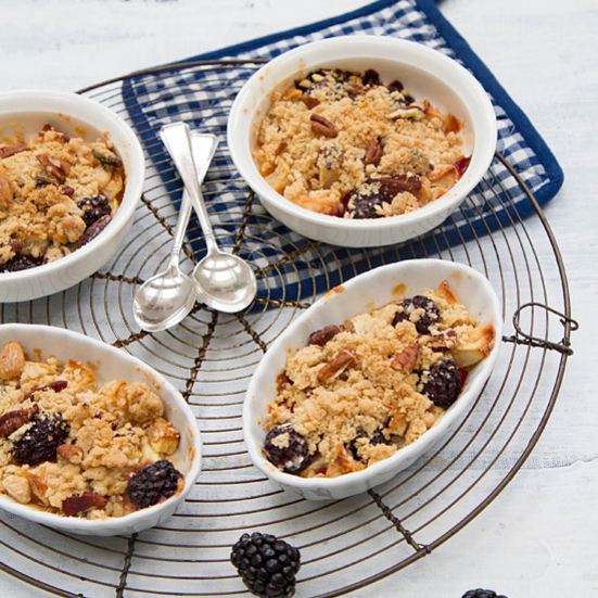 Blackberry and Apple Crisp with Nut Topping