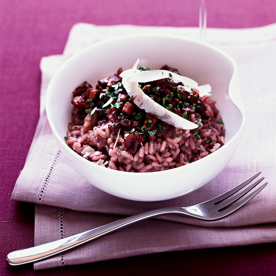 Red Wine Risotto with Mushroom