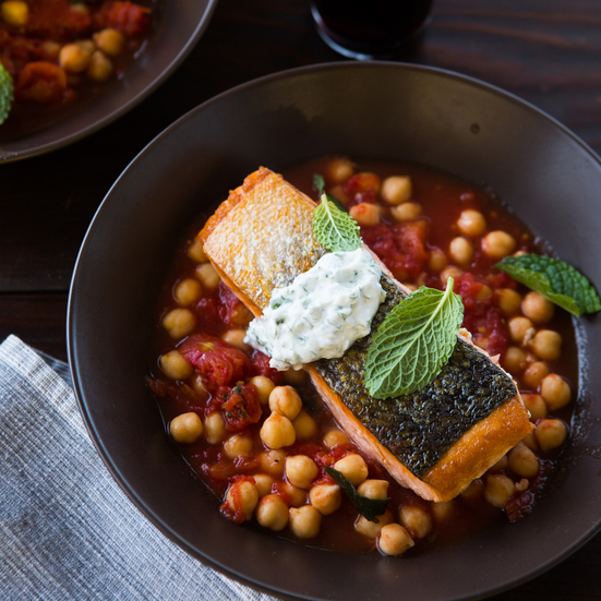 Salmon with Tomato-Braised Chickpeas and Herbed Yogurt