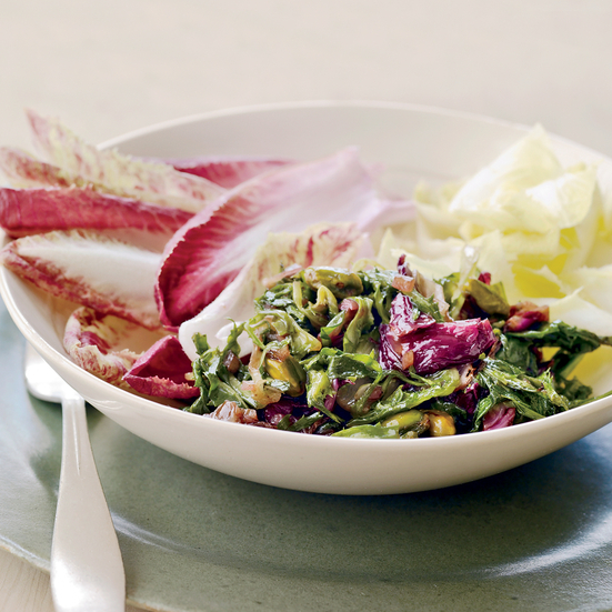 Chicory and Endive Salad with Spiced Pistachios