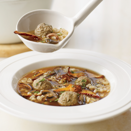 Mushroom Barley Soup with Mini Meatballs